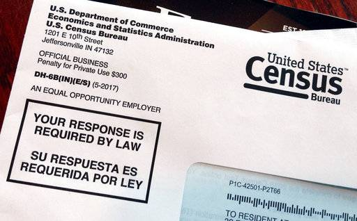 FILE - This March 23, 2018 file photo shows an envelope containing a 2018 census letter mailed to a resident in Providence, R.I., as part of the nation's only test run of the 2020 Census. A Trump administration plan to include a citizenship question on the 2020 Census has prompted legal challenges from many Democratic-led states. But not a single Republican attorney general has sued _ not even from states with large immigrant populations.