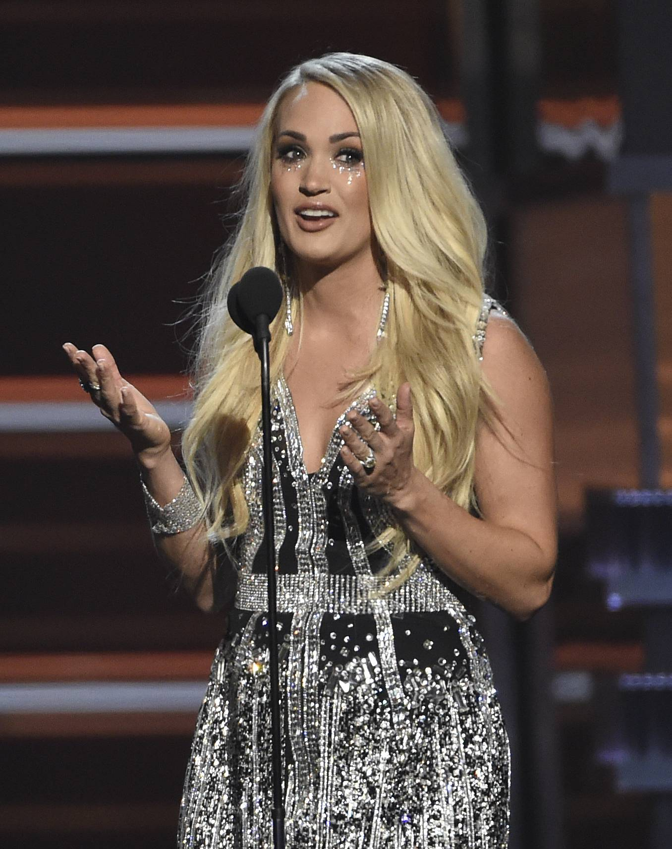 "Carrie Underwood accepts the award for vocal event of the year for ""The Fighter"" at the 53rd annual Academy of Country Music Awards at the MGM Grand Garden Arena on Sunday, April 15, in Las Vegas."