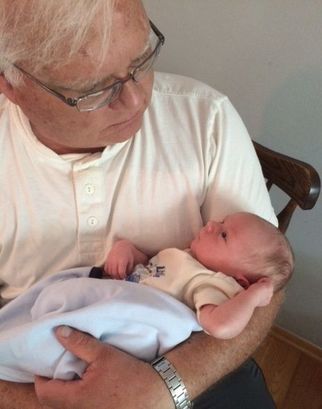 Joe Such with day-old grandson Anton Joseph in 2014.