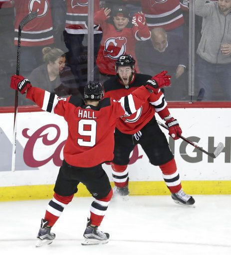 the latest fe5a8 5934a Hall has goal, 2 assists as Devils rally past Lightning, 5-2