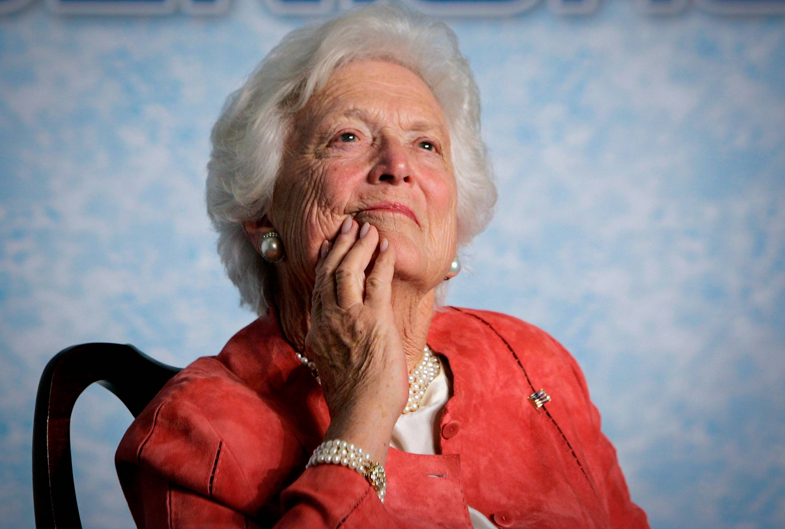 "Former first lady Barbara Bush listens to her son, President George W. Bush, as he speaks on Social Security reform in Orlando, Fla. The wife of former President George H.W. Bush is in ""failing health,"" a Bush family spokesman said Sunday, April 15, 2018, following a recent series of hospitalizations and after consulting with her family and doctors, the 92-year-old former first lady has decided not to seek additional medical treatment and will instead focus on comfort care."