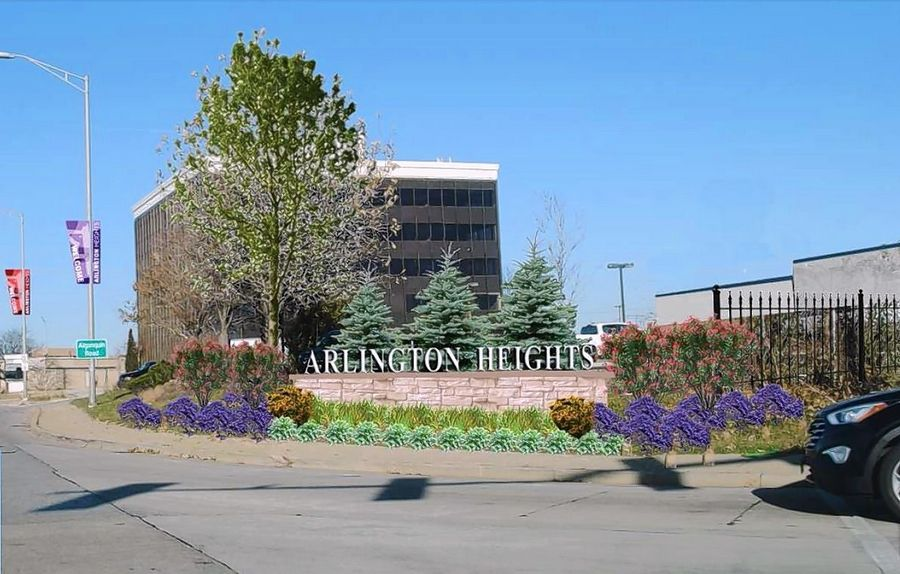 A rendering shows a proposed gateway feature that would be placed at the southern entrance to Arlington Heights, as depicted in the village's South Arlington Heights Road Corridor Plan.
