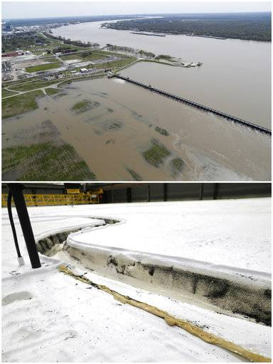 This combo of photos shows the opening of the Bonnet Carre spillway, above, a river diversion structure which diverts water from the rising Mississippi River to Lake Pontchartrain on March 8, 2018, top, and the same section on a replica of a portion of the Mississippi River, in Baton Rouge, La., on March 29, 2018, bottom.