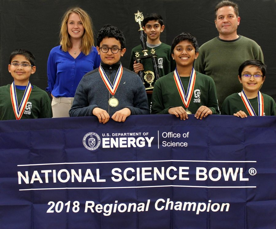 The Wright Junior High School Science Bowl team members and coaches are, from left, Rishabh Wuppalapati, Sarah Kantor, Anmol Dash, Deepak Salian, Srihas Rao, Anthony Hafner and Akshansh Chauhan. They'll compete for the national title later this month.