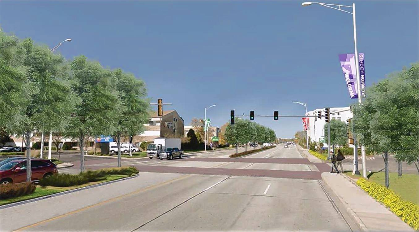 A rendering shows a proposed traffic signal on Arlington Heights Road north of Algonquin Road, marked crosswalks and landscaped medians as part of village officials' vision for the corridor.