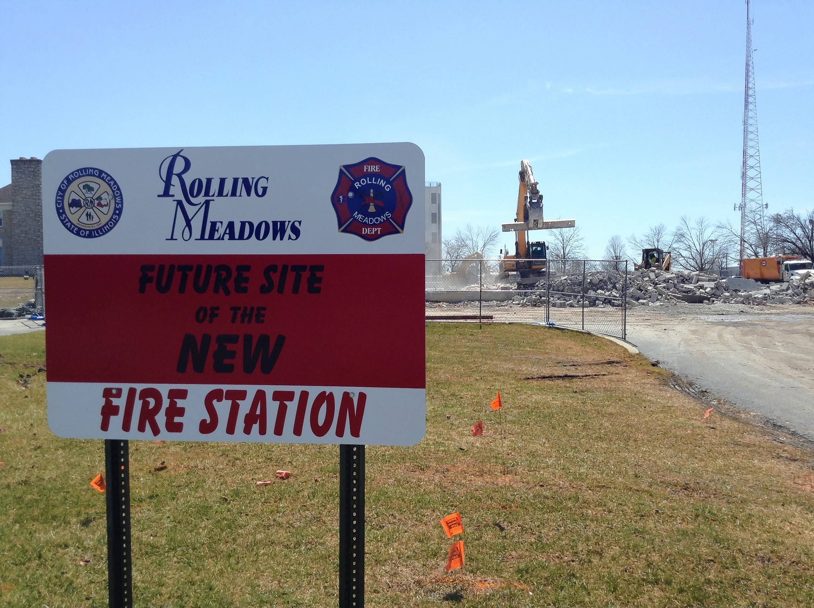 A new Rolling Meadows Fire Station 15 is planned at 3201 Algonquin Road, where demolition crews on Thursday continued tearing down a shuttered restaurant.