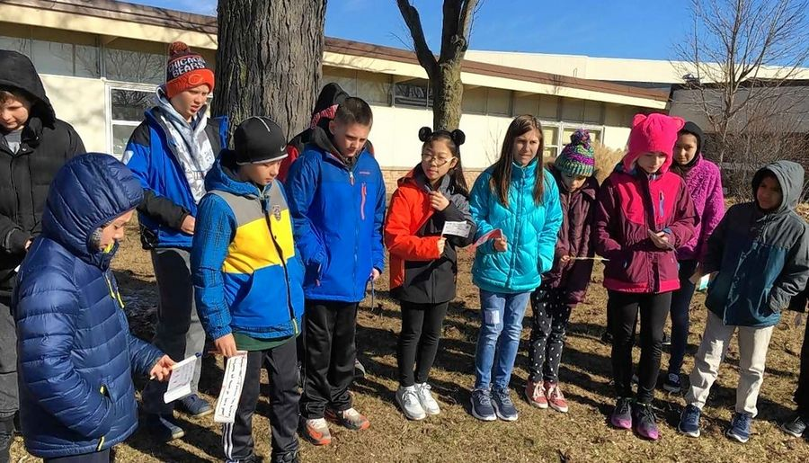 Students at Winston Campus Elementary School in Palatine last month participated in a nationwide school walkout in support of increased gun control. Palatine Township Elementary District 15 no longer will allow such walkouts.