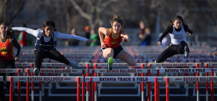 Batavia's Morgan Steinys competes in the 100-meter hurdles Thursday at the Batavia girls track invitational.