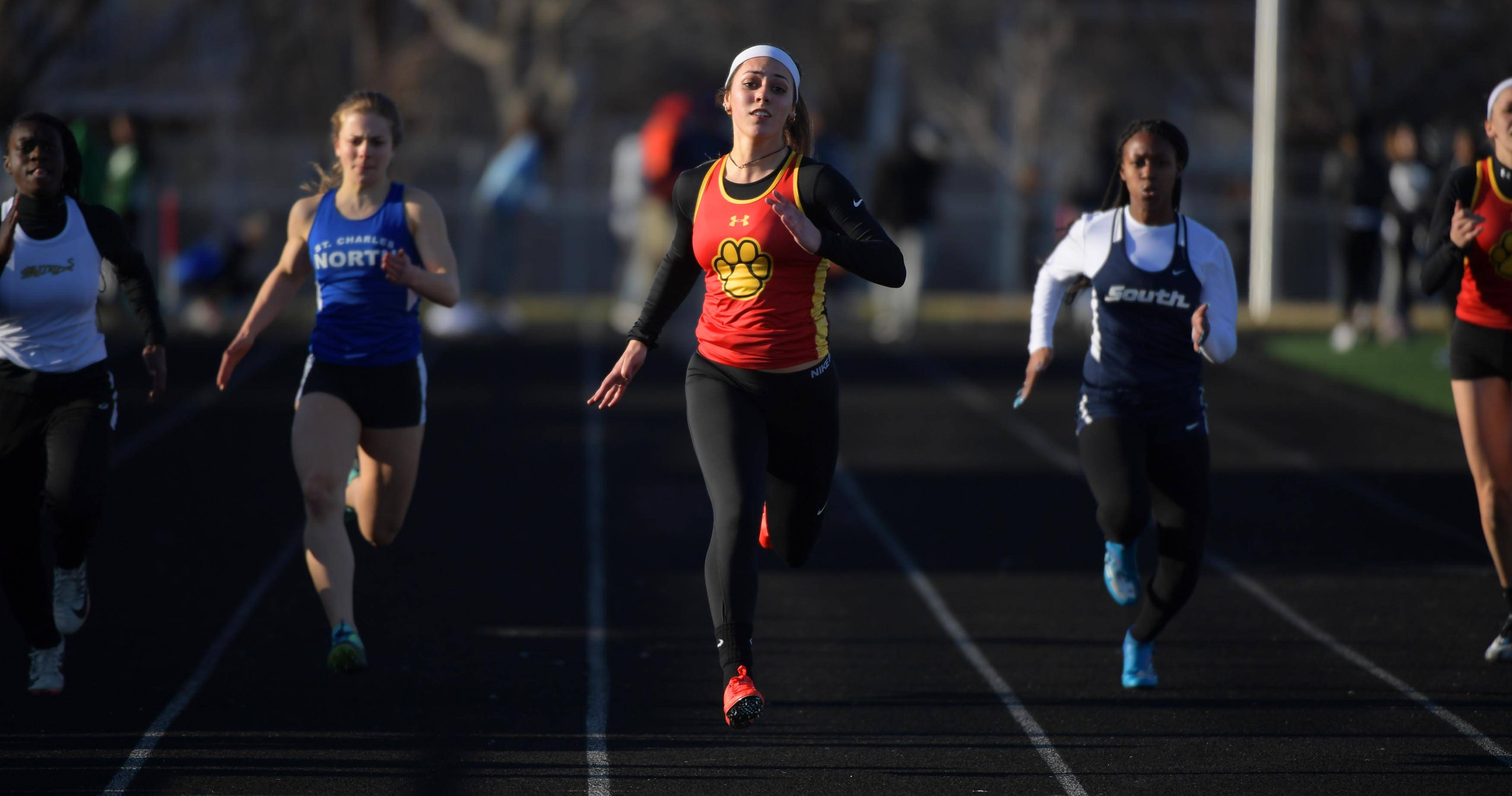 Batavia's Tori Ortiz wins her heat of the 100-meter dash Thursday at the Batavia girls track invitational.