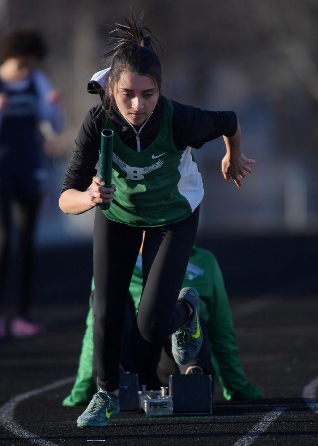 Bartlett's Roxanna Perez comes out of the blocks in the 1,600-meter relay.