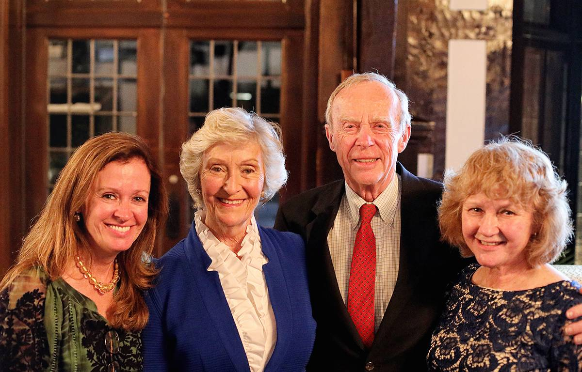Woodlands Academy board of trustees Chair Barbara Wood-Prince of Lake Forest, second from left, joined by her daughter Wendy Wood-Prince of Lake Forest, left; husband Alain; and daughter Sandy Collins of Wilmette, right, at Congé 2017.