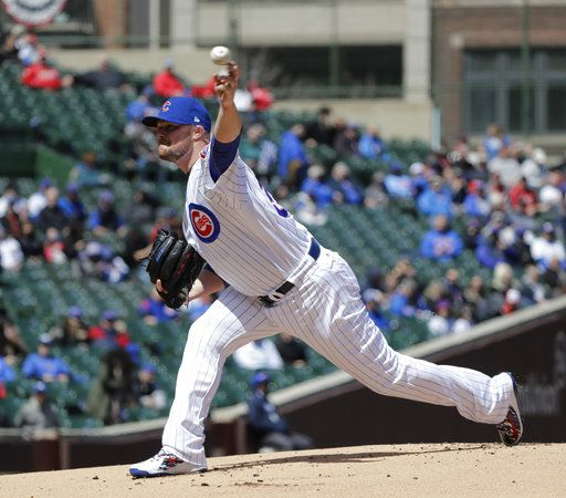 Chicago Cubs starting pitcher Jon Lester delivers during the first inning of a baseball game against the St. Louis Cardinals Thursday, April 19, 2018, in Chicago.