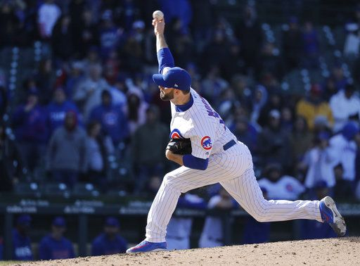 Chicago Cubs relief pitcher Brandon Morrow delivers during the ninth inning of a baseball game against the St. Louis Cardinals, Thursday, April 19, 2018, in Chicago.