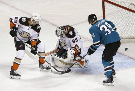 Anaheim Ducks defenseman Marcus Pettersson (65), from Sweden, and goalie John Gibson (36) and San Jose Sharks center Logan Couture (39) watch a goal scored by Sharks' Tomas Hertl during the third period of Game 4 of an NHL hockey first-round playoff series in San Jose, Calif., Wednesday, April 18, 2018. The Sharks won 2-1 to sweep the series.