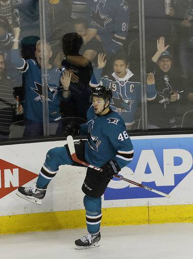 San Jose Sharks center Tomas Hertl, from the Czech Republic, reacts after scoring a goal against the Anaheim Ducks during the third period of Game 4 of an NHL hockey first-round playoff series in San Jose, Calif., Wednesday, April 18, 2018. The Sharks won 2-1 to sweep the series.