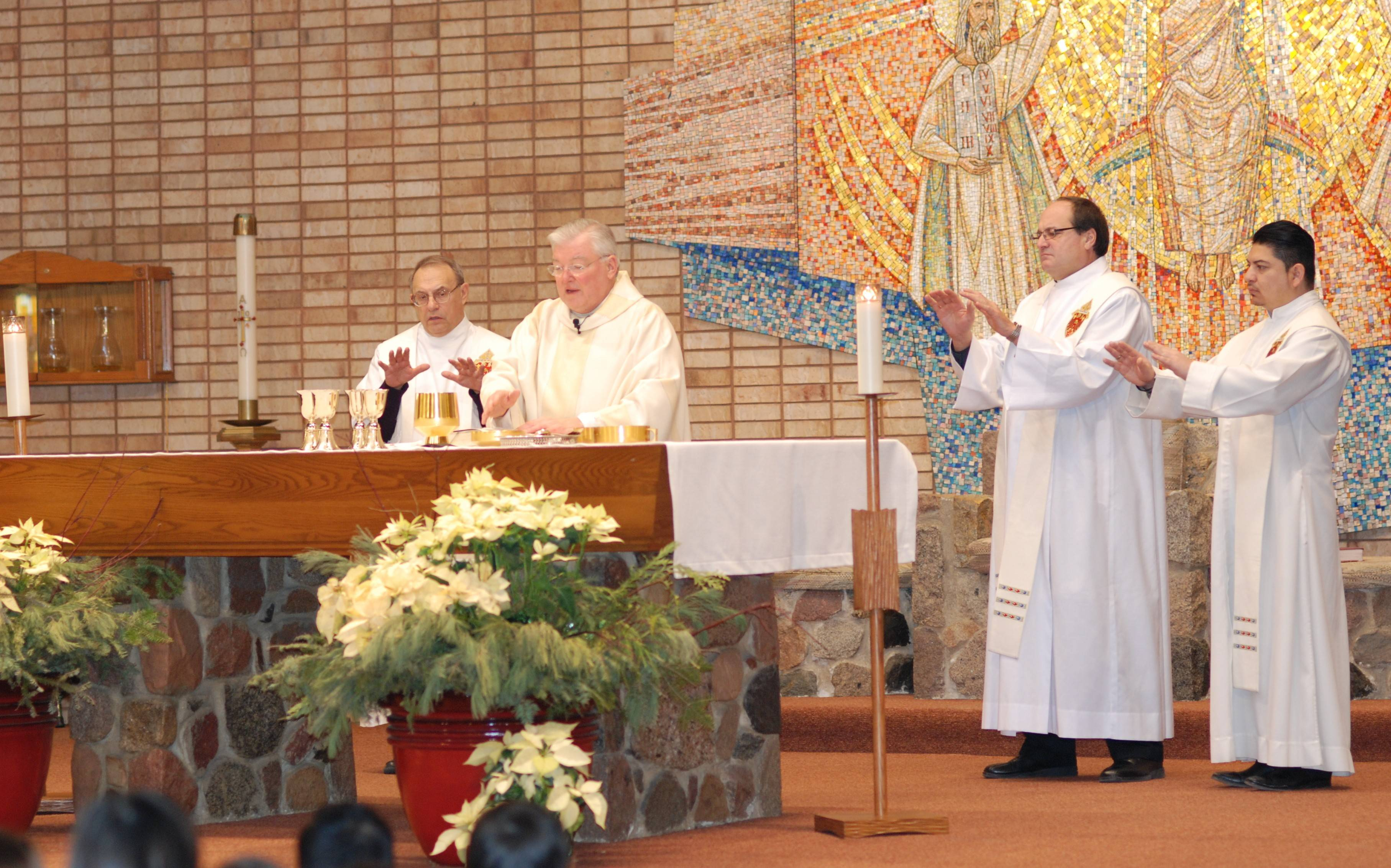 The Rev. Ron Gollatz, shown here at the altar leading a 2015 Mass at Transfiguration Catholic Church in Wauconda, has died.