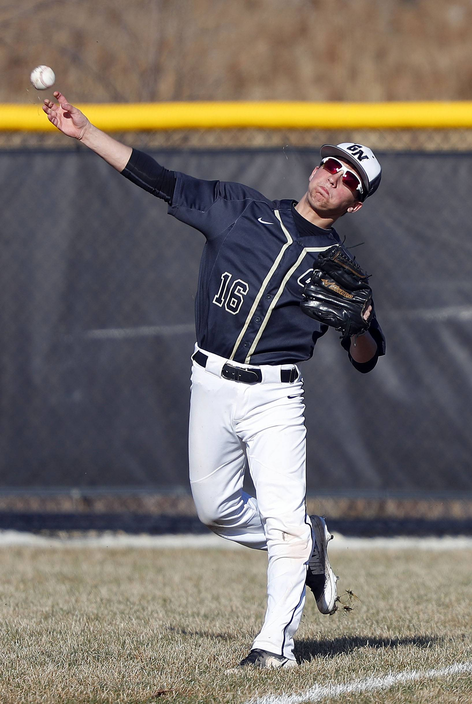 Grayslake North's Ray Shoemaker fires to home plate against Grayslake Central on Friday.