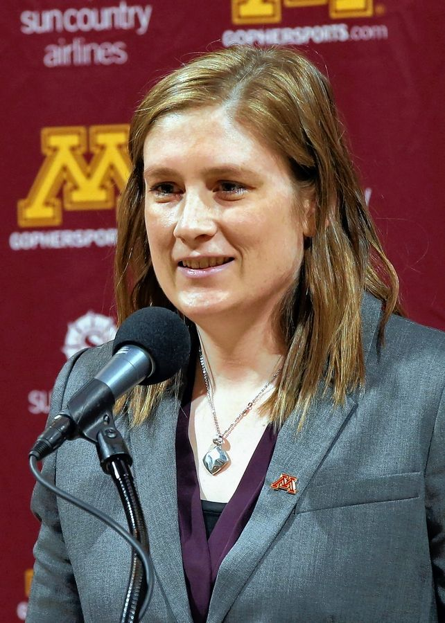 Lindsay Whalen addresses the media after she was introduced as Minnesota's new women's NCAA college basketball coach Friday, April 13, 2018, in Minneapolis.