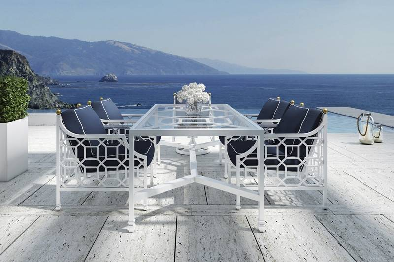 A table and chairs set from the Barclay Butera Collection is handcrafted to capture luxury, sophistication and designer chic.