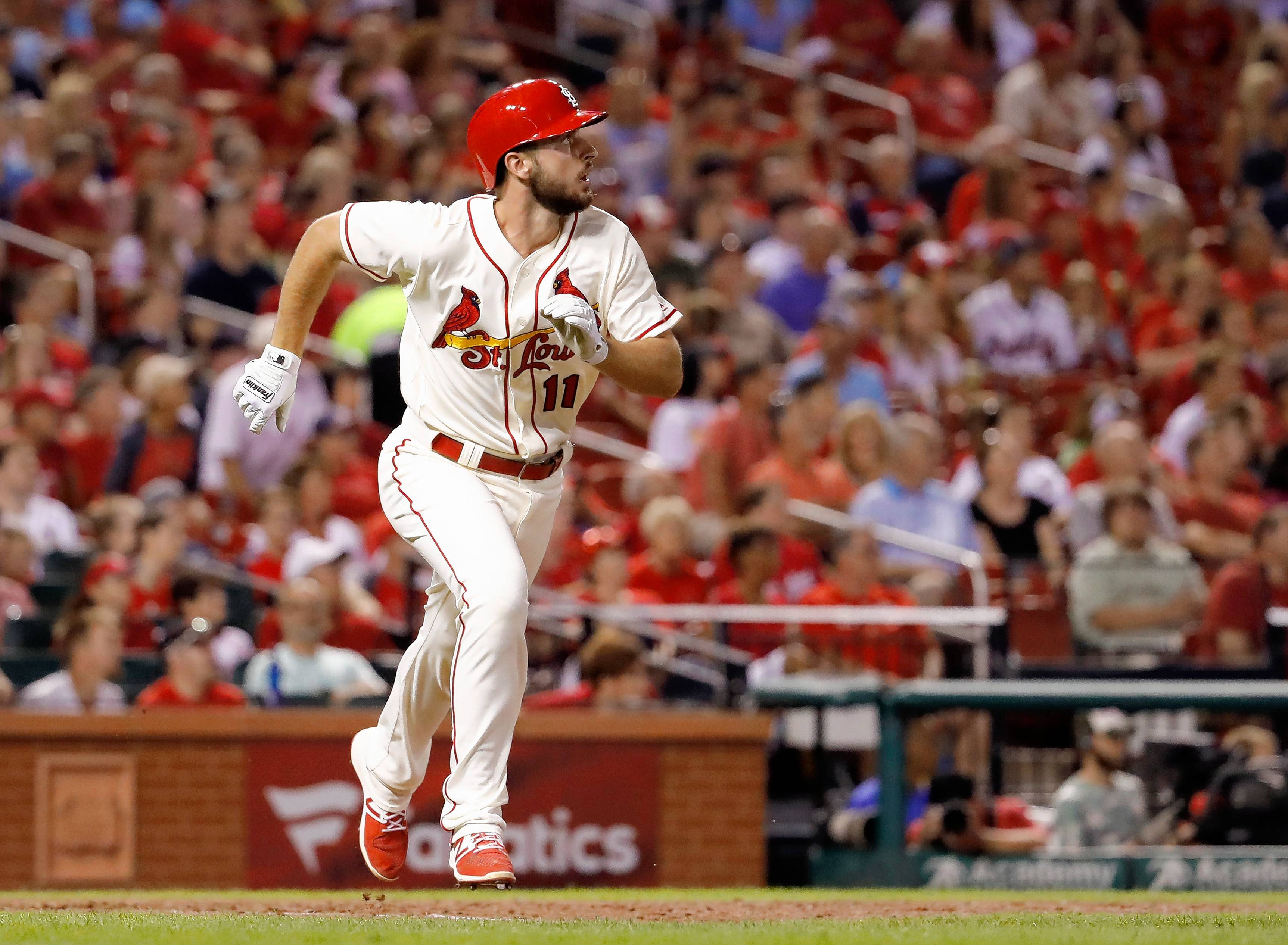 St. Louis Cardinals' Paul DeJong watches his solo home run during the seventh inning of a baseball game against the Atlanta Braves Saturday, Aug. 12, 2017, in St. Louis. (AP Photo/Jeff Roberson)