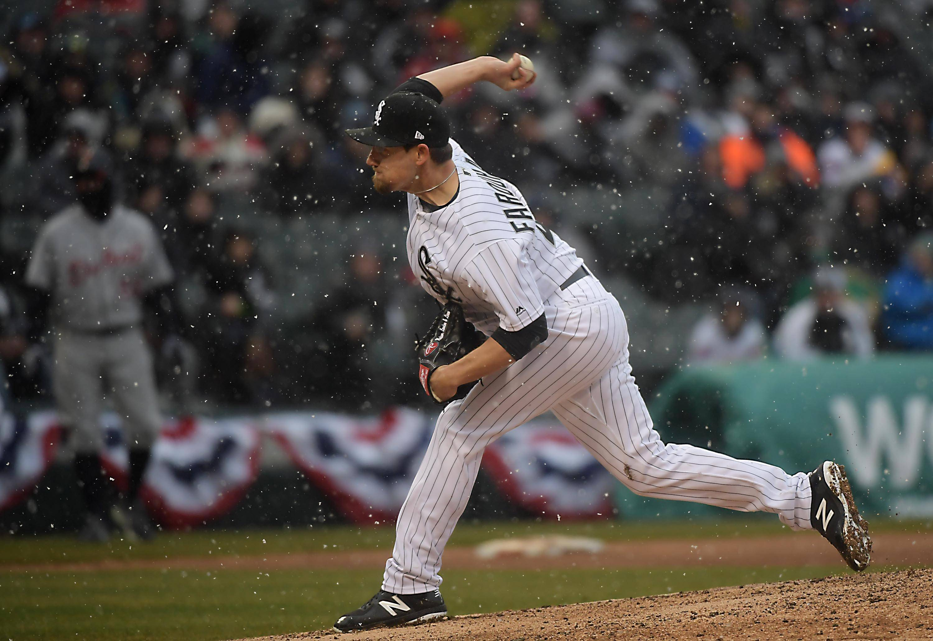 Chicago White Sox relief pitcher Danny Farquhar, shown here during the home opener earlier this month, was hospitalized Friday night after suffering a brain hemorrhage during the game against the Houston Astros.