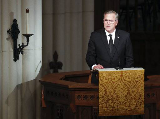 Former Florida Governor Jeb Bush speaks during a funeral service for his mother, former first lady Barbara Bush at St. Martin's Episcopal Church, Saturday, April 21, 2018, in Houston.  (Brett Coomer /Houston Chronicle via AP, Pool)