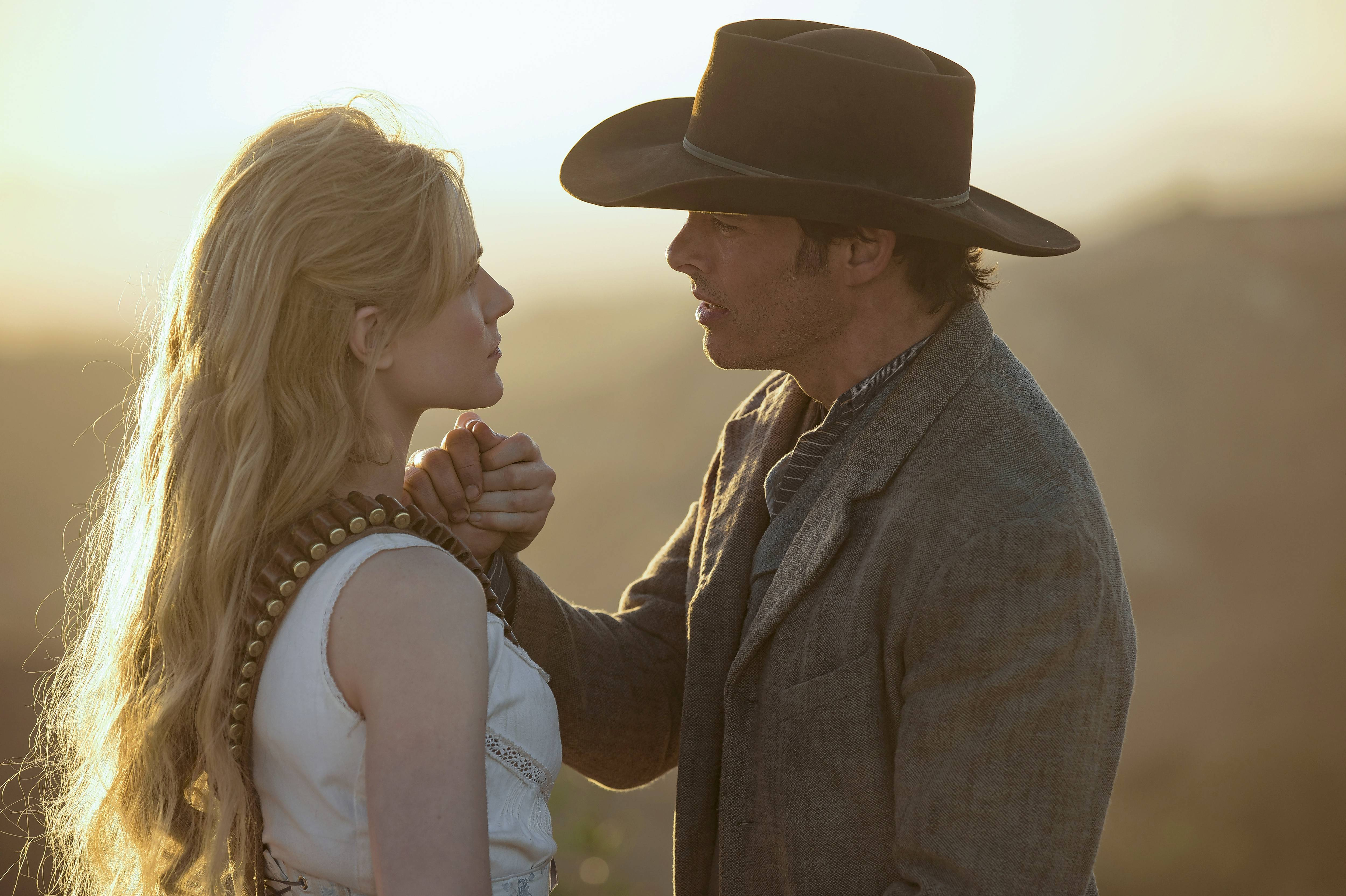 "Delores (Evan Rachel Wood) and Teddy (James Marsden) grapple with big changes when ""Westworld"" returns for its second season."