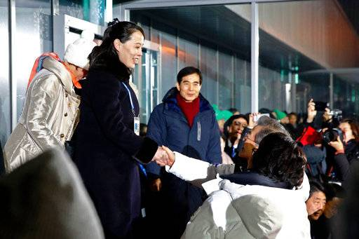 FILE - In this Feb. 9, 2018 file photo, Kim Yo Jong, left, sister of North Korean leader Kim Jong Un, shakes hands with South Korean President Moon Jae-in at the opening ceremony of the 2018 Winter Olympics in Pyeongchang, South Korea. North Korea's abrupt diplomatic outreach in recent months comes after a flurry of weapons tests that marked 2017, including the underground detonation of an alleged thermonuclear warhead and three launches of developmental ICBMs designed to strike the U.S. mainland. Inter-Korean dialogue resumed after Kim in his New Year's speech proposed talks with the South to reduce animosities and for the North to participate in February's Winter Olympics in Pyongchang. North Korea sent hundreds of people to the games, including Kim's sister, who expressed her brother's desire to meet with Moon for a summit. South Korean officials later brokered a potential summit between Kim and Trump.