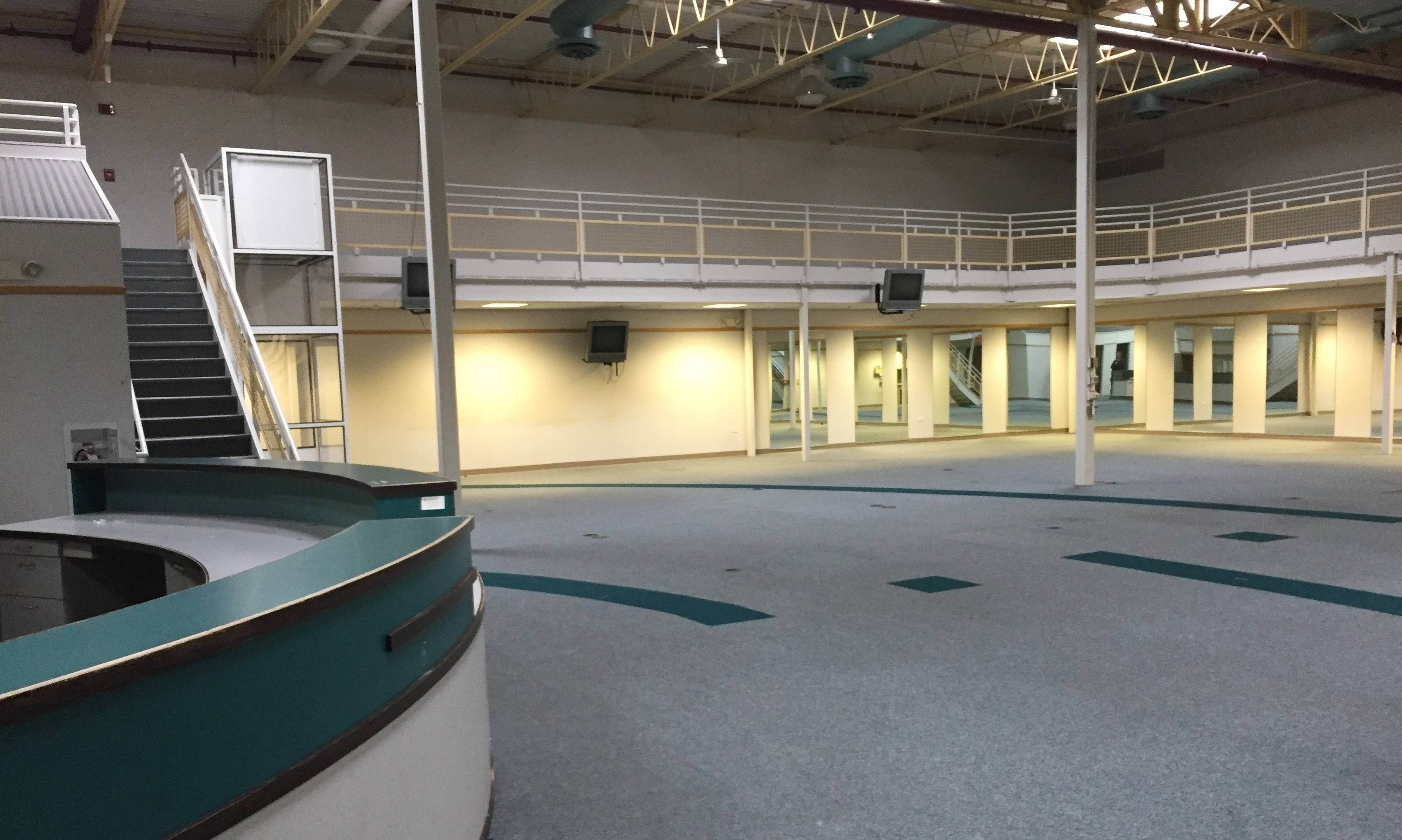 Plans fell through to open an indoor amusement center in the former Sherman Health Resource Center at 1019 E. Chicago St. in Elgin. Shown here is the former cardiac rehab area with an elevated running track inside the building.