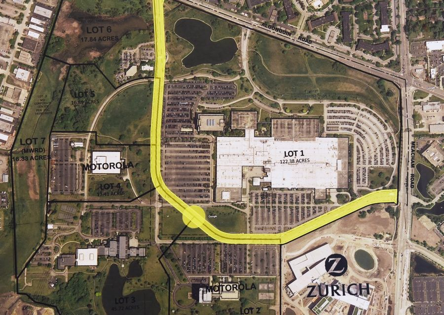 An aerial photo shows the Veridian development site and its proposed central road on the former Motorola Solutions campus near Algonquin and Meacham roads in Schaumburg. Motorola and Zurich North America will remain neighbors to the project.