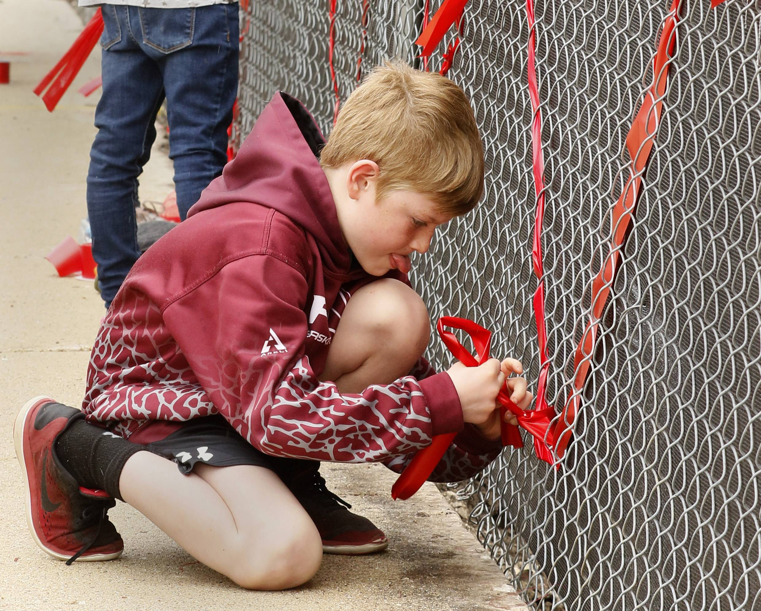 Reid Brown of Naperville weaves ribbon through fencing to help the Save Old Nichols group keep the former downtown Naperville Library from being partially demolished.