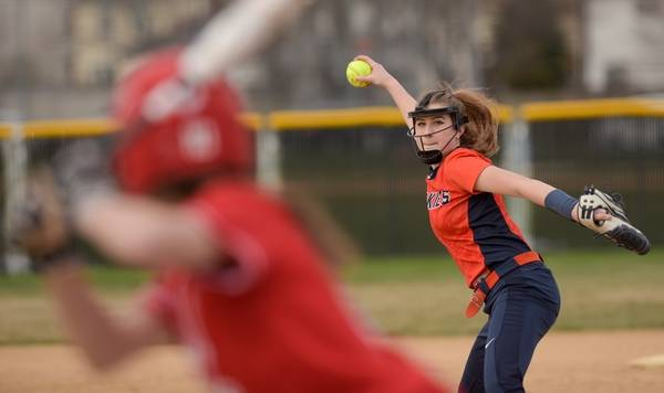 Naperville North S Camelia Chelich Pitches Against Central During Varsity Softball At On Monday