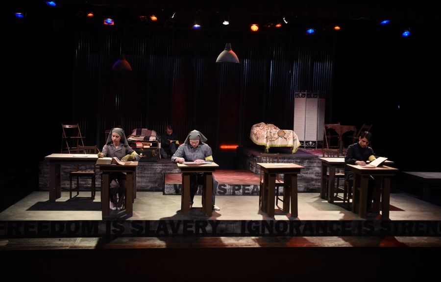 "Students performing in Rolling Meadows High School's production of ""1984"" say the dystopian play based on the George Orwell novel mirrors some of the issues facing our world today."