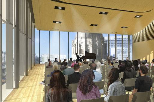 This artist rendering provided by The San Francisco Conservatory of Music shows the 11th floor penthouse recital hall at the Bowes Center for Performing Arts on in San Francisco. The San Francisco Conservatory of Music plans to start construction this summer of a 12-floor building containing two concert halls in the Civic Center area and has received a $46.4 million gift from the William K. Bowes Jr. Foundation. The conservatory said Wednesday, April 25, 2018, it had raised $96 million of its $110 million goal. (Courtesy of Mark Cavagnero/The San Francisco Conservatory of Music via AP)
