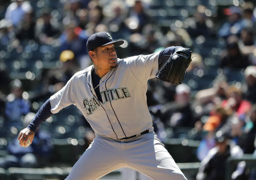 Seattle Mariners starting pitcher Felix Hernandez delivers during the first inning of a baseball game against the Chicago White Sox Wednesday, April 25, 2018, in Chicago.