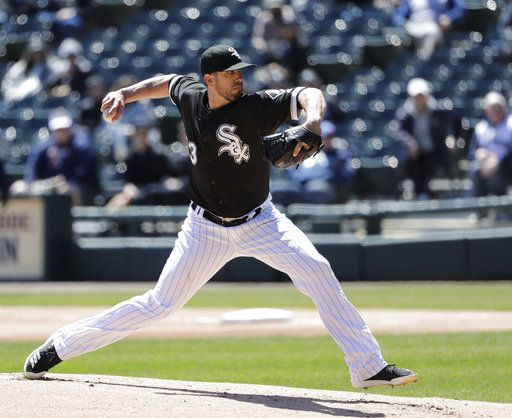 Chicago White Sox starting pitcher James Shields delivers during the first inning of a baseball game against the Seattle Mariners Wednesday, April 25, 2018, in Chicago.