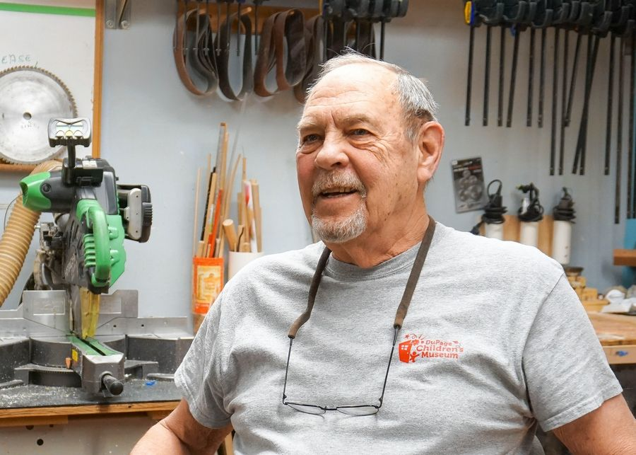Dave Dumford began volunteering at the DuPage Children's Museum in 2001 and since then has spent 10,000 hours helping design, build or repair exhibits.