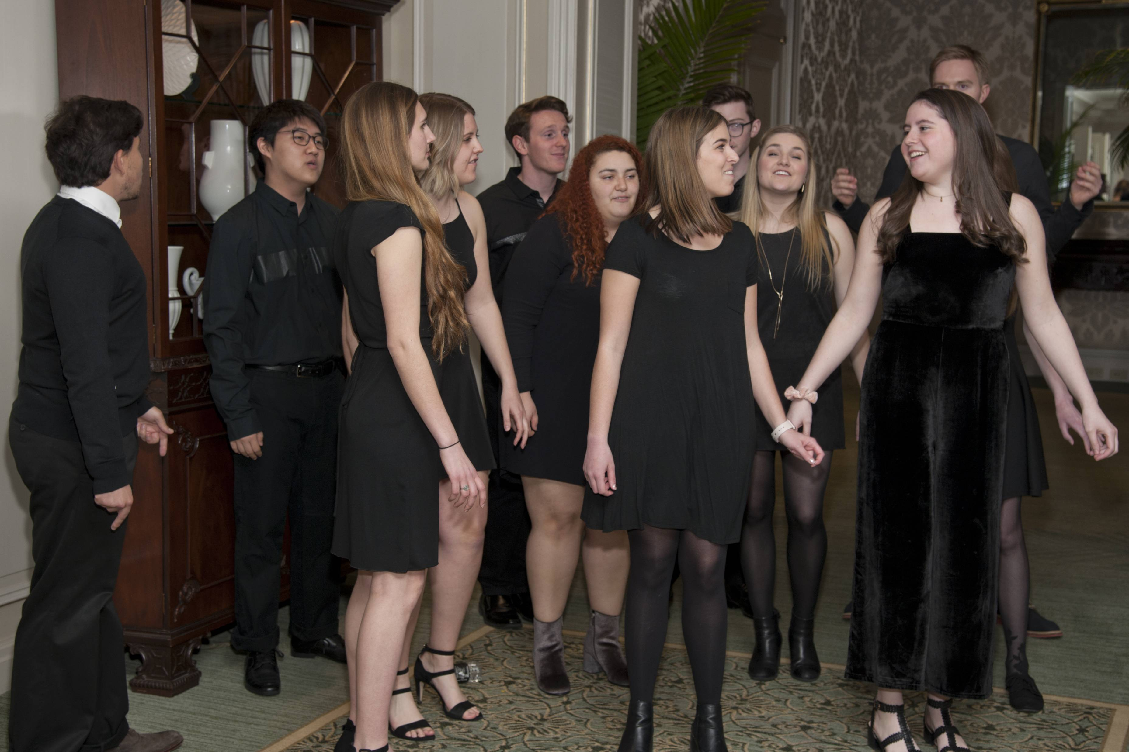 COURTESY OF ROBERT CARLNorthwestern University A Capella singing groupmakes an appearance during the Clearbrook Event at the Four Seasons Hotel Chicago on Friday, April 27, 2018.