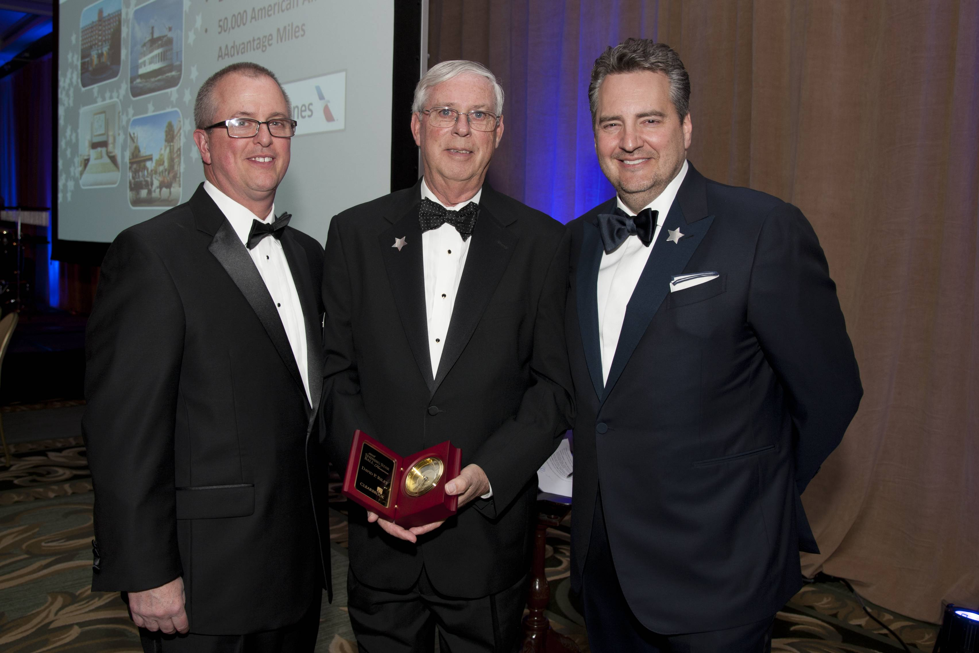 COURTESY OF ROBERT CARLFrom left, Anthony DiVittorio, award recipient David Riley and radio personality Roe Conn during the Clearbrook Event at the Four Seasons Hotel Chicago on Friday, April 27, 2018.