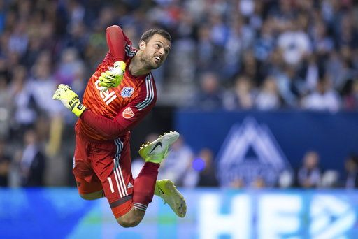 d0f273d261f Vancouver Whitecaps goalkeeper Stefan Marinovic watches the ball after  making a save against Real Salt Lake