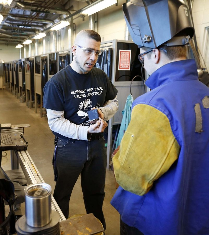 """We are real excited about it,"" said Vincent Serritella, Hampshire High School industrial technology teacher, about the school's welding program's becoming an American Welding Society-accredited testing facility."