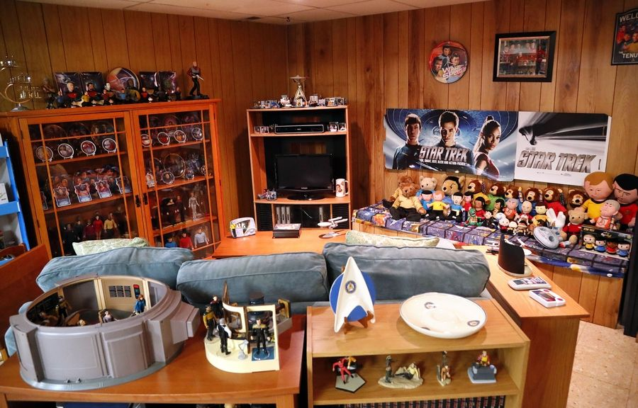 """Star Trek"" action figures and other memorabilia line the basement of John and Maria Jose Tenuto's home in Gurnee. The couple have been featured on the Netflix series ""The Toys That Made Us."" See more at dailyherald.com/video."