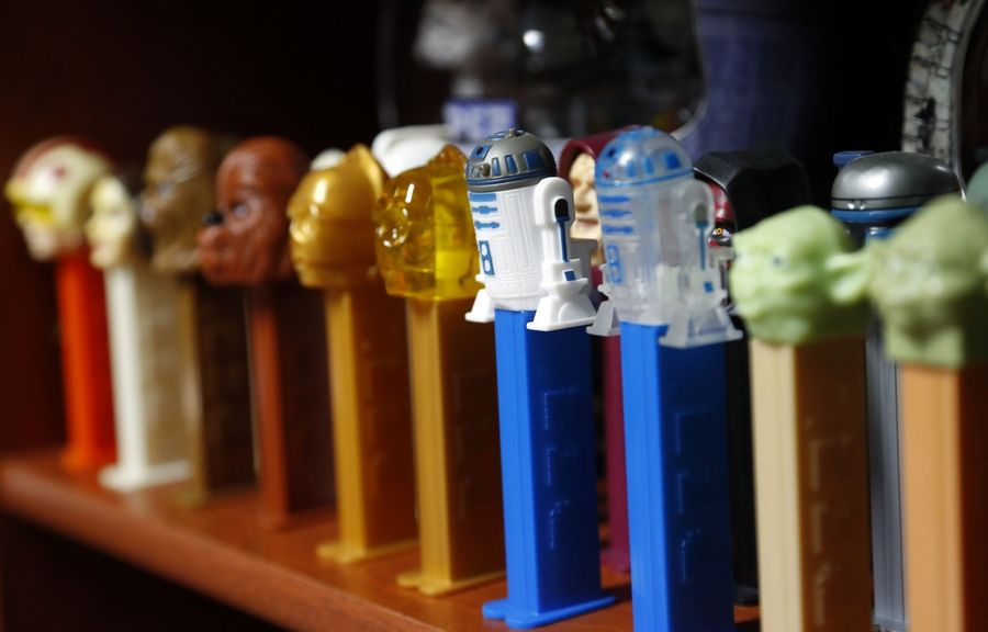 """Star Wars"" Pez dispensers sit in the basement of John and Maria Jose Tenuto's house of Gurnee."