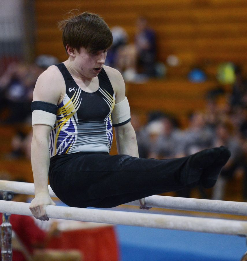 Rolling Meadows' David Rasmussen competes on the parallel bars during Tuesday's boys gymnastics sectional at Mundelein.