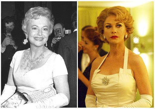"In this combination photo, actress Olivia de Havilland appears in Rome on Oct. 4, 1968, left, and actress Catherine Zeta-Jones portrays de Havilland in a scene from the FX series, ""Feud: Betty and Joan."" De Havilland has asked the California Supreme Court to revive her lawsuit against the FX Networks show ""Feud: Bette and Joan.�  Lawyers for the 101-year-old actress filed the appeal Friday, May 4, 2018, asking the court to reverse an appeals court decision in March that threw out the suit."