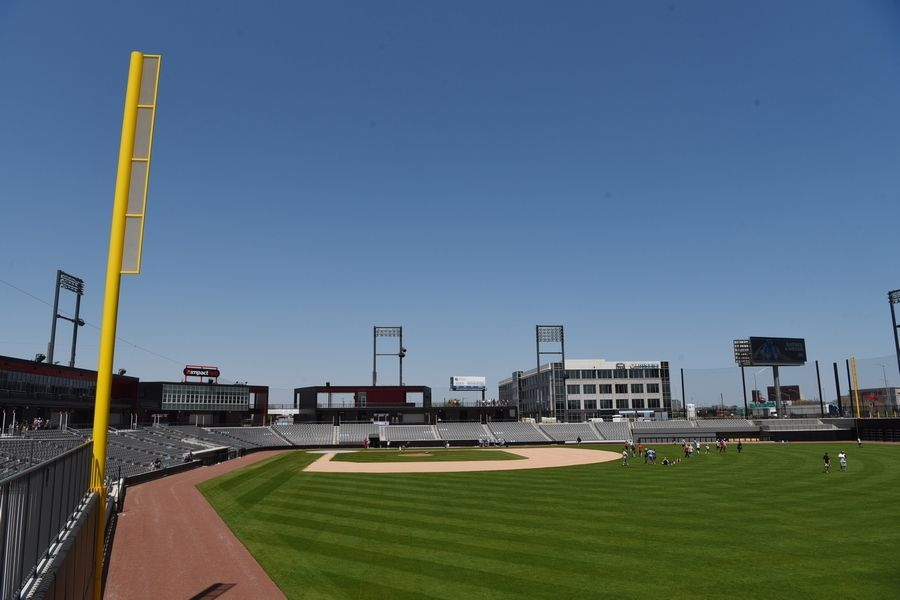 This is the view from right field at Impact Field, home of the Chicago Dogs, in Rosemont.