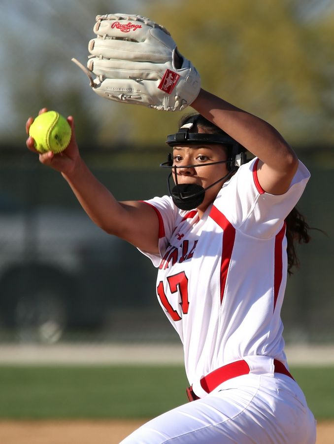 Huntley's Brianna Bower makes an offering in the fifth inning during varsity softball at Hampshire Monday. Huntley blanked the host Whip-Purs 13-0 in five innings.