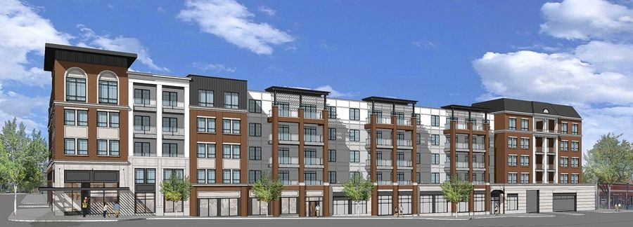 A preliminary rendering shows a proposed apartment complex that would replace the old Giesche Shoes store at the northwest corner of Main Street and Hillside Avenue in Glen Ellyn.
