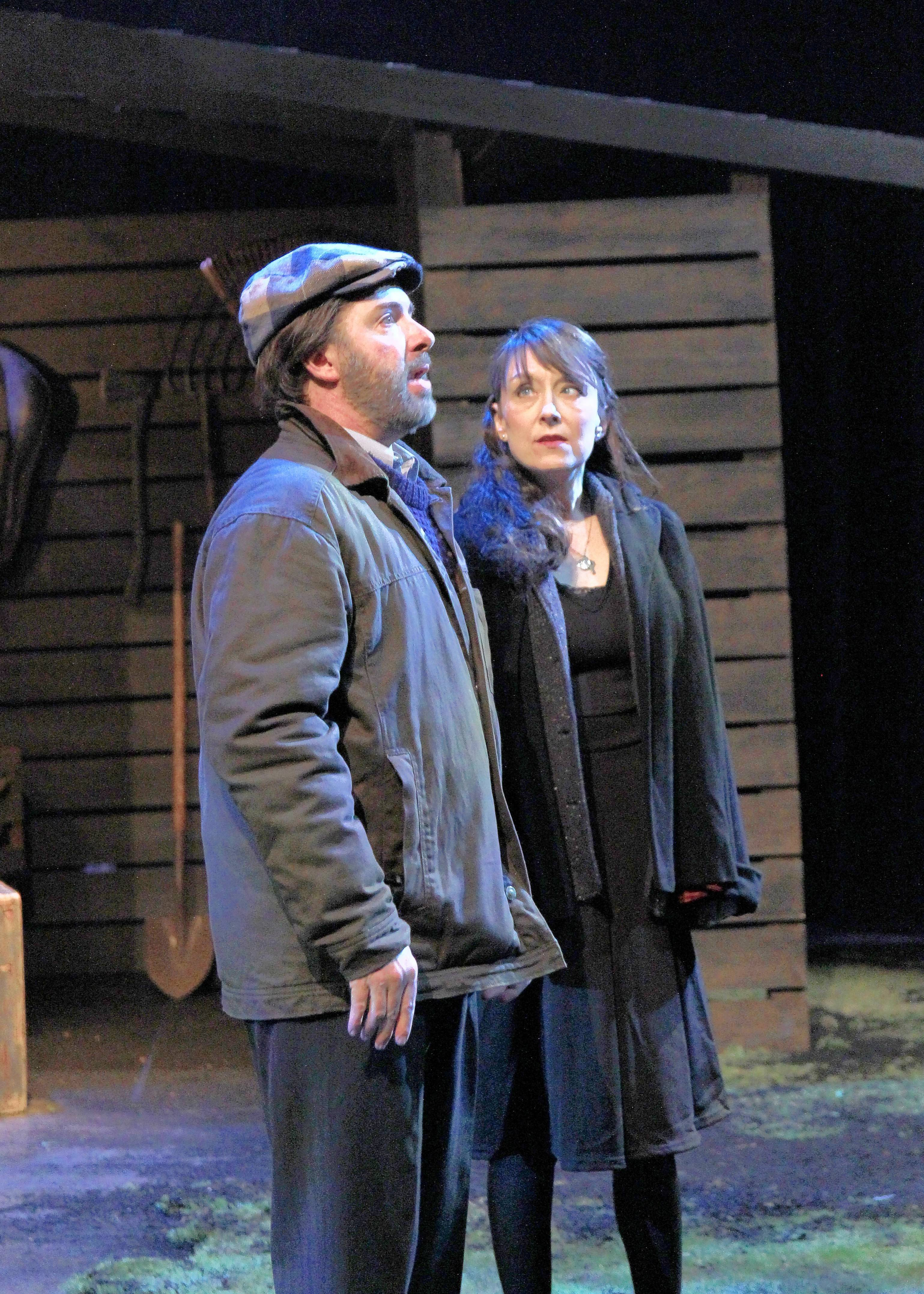 "Irish farmer Anthony Reilly (Robert Jordan Bailey) talks with neighbor Rosemary Muldoon (Kelli Walker) in Buffalo Theatre Ensemble's ""Outside Mullingar."" John Patrick Shanley's 2014 romantic comedy continues at College of DuPage's McAninch Arts Center in Glen Ellyn through Sunday, June 3."