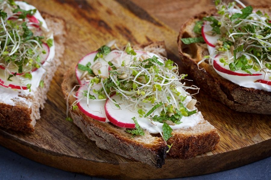 Deb Lindsey for The Washington PostSpring Toasts With Labneh, a rich and spreadable Middle Eastern yogurt. Try it smeared on slices of whole-grain bread and topped with bright spring produce and sunflower seeds.